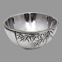 Japanese Engraved Open Salt Dish Sterling Silver