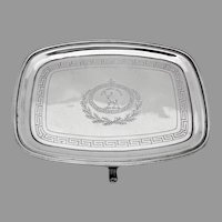 Georgian Rectangular Small  Footed Tray Sterling Silver 1805 Crest