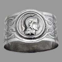 Medallion Oval Napkin Ring Coin Silver Mono JNM