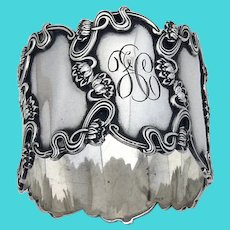 Art Nouveau Pond Lily Napkin Ring Sterling Silver Mono FC