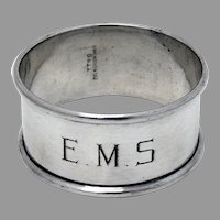 Round Napkin Ring Blackinton Sterling Silver Mono EMS