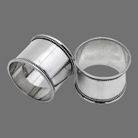 Beaded Rim Napkin Rings Pair Towle Sterling Silver No Mono