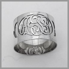 Napkin Ring Cut Out Mono AJP Sterling Silver