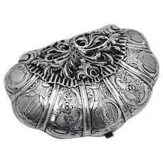 Ornate Baroque Clam Shell Form Purse French First Standard Silver