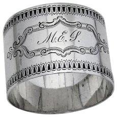 Engraved Napkin Ring Coin Silver 1865 Mono MEJ