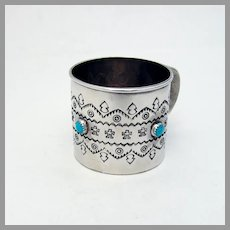 Navajo Ornate Baby Cup Soce Sterling Silver Turquoise Cabochons