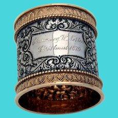 Gilt Ornate Napkin Ring Wood Hughes Sterling Silver Christmas 1879 Mono