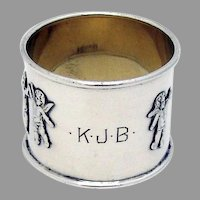 Applied Angels Napkin Ring Hartford Sterling Silver Mono KJB