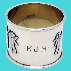 Applied Angels Napkin Ring Hartford Sterling Silver Mono KJB