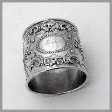 Old Baronial Napkin Ring Gorham Sterling Silver Mono Josie