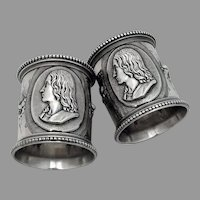High Relief Medallion Beaded Napkin Rings Pair Coin Silver 1865 Mono