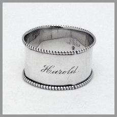 Beaded Napkin Ring Towle Sterling Silver Mono Harold