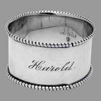 Beaded Napkin Ring Towle Sterling Silver Mono Harold