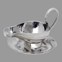 Japanese Miniature Sauce Boat Underplate Set 950 Sterling Silver