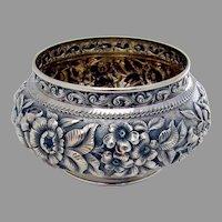 Repousse Floral Bowl Gilt Interior Sterling Silver Mono CRR 1888