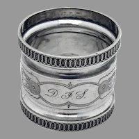 Ornate Napkin Ring Coin Silver Mono DJS