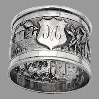 South East Asian Tropical Landscape Napkin Ring Sterling Silver 1900 Mono M