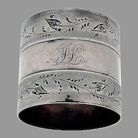 Coin Silver Napkin Ring Engraved Vine Borders Mono JL