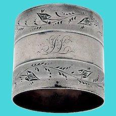 Coin Silver Napkin Ring Engraved Vine Borders Mono JL
