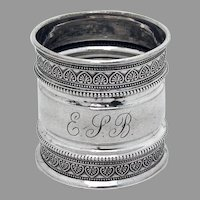 Ornate Beaded Engraved Napkin Ring Coin Silver Mono ESB
