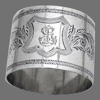 Floral Engraved Design Napkin Ring German 900 Silver Mono GL