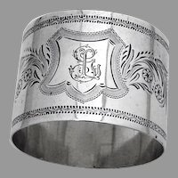 Floral Engraved Design Napkin Ring German 900 Silver Mono GL