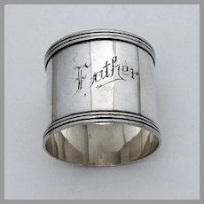 Father Napkin Ring  Banded Borders Watrous Sterling Silver