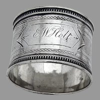 Engine Turned Napkin Ring Coin Silver Mono E W Holt