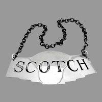Scotch Bottle Tag Label Sterling Silver Watson