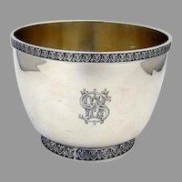 Ornate Border Bowl Gilt Interior Wood Hughes 900 Silver Mono EWS