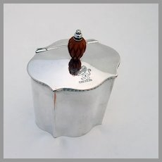 Pinecone Finial Tea Caddy Freeman Son Silverplate Sheffield Lion Crest