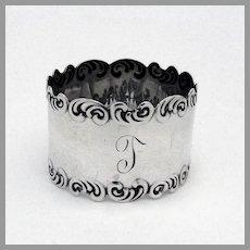 Scroll Border Napkin Ring Watrous Sterling Silver Mono T