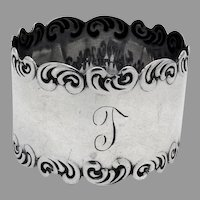 Scroll Border Napkin Ring Watrous Sterling Silver Mono T