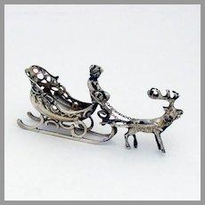 Cherub On Reindeer Sleigh Figurine 800 Silver