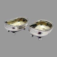Georgian Bathtub Form Open Salt Dishes Pair Sterling Silver 1815 Crest