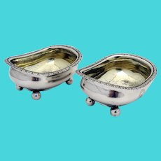 Georgian Bathtub Form Open Salt Dishes Pair Sterling Silver 1815 Crest