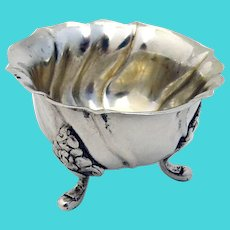 Danish Open Salt Floral Feet 830 Silver 1915