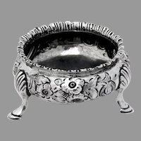 Victorian Repousse Floral Open Salt Dish Sterling Silver 1855 London