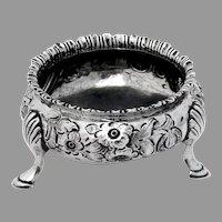 Victorian Repousse Floral Open Salt Dish Sterling Silver 1855 London