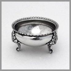 Open Salt Dish Foliate Feet Coin Silver Theodore Evans 1855 NY