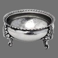 Open Salt Dish Foliate Feet Coin Silver Theodore Evans 1855 NY