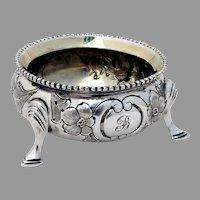 Victorian Floral Open Salt Dish Sterling Silver 1872 London Mono B