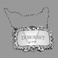 English Dubonnet Bottle Tag Label Sterling Silver 1976 London