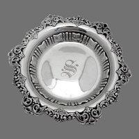 Ornate Small Serving Bowl Alvin Sterling Silver Mono S