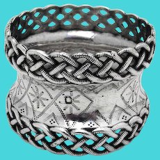Braided Border Engraved Napkin Ring French Sterling Silver