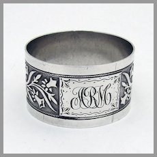 Embossed Floral Napkin Ring Sterling Silver Mono ARM