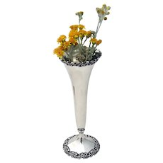 Shreve Trumpet Vase Applied Scroll Designs Sterling Silver