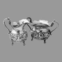 Repousse Creamer Sugar Bowl Set Stieff Sterling Silver 1945 Mono CRH