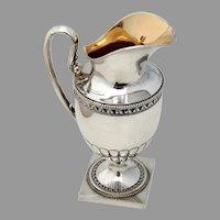 Swedish Creamer Pitcher Pedestal Base Gilt Interior Sterling Silver 1900