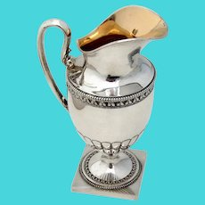 Swedish Creamer Pitcher Pedestal Base Gilt Interior Sterling Silver 1900